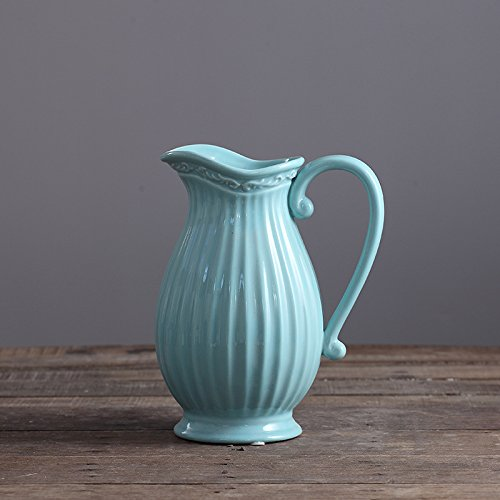 D'vine Dev Ceramic Pitcher Vase 10 Inches Blue French Countr