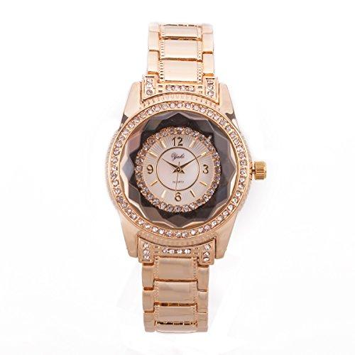 Yaki Goldene Uhr Luxus Armbanduhr Damen Gold Legierung Band Strass Analog Quarzuhr