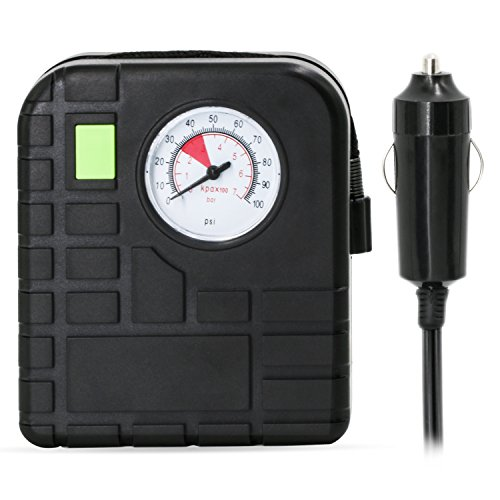 YRLIN Mini Pump 12V DC Portable Tire Inflator with Cigarette Plug for Cars, Bicycles and Balls ( Black ) by YRLIN