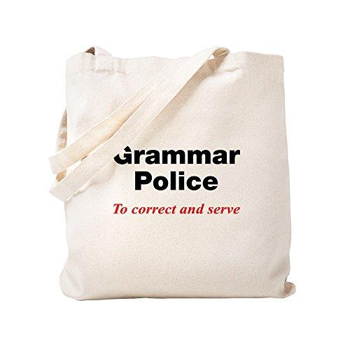 CafePress - Grammar Police - Natural Canvas Tote Bag, Cloth Shopping Bag (Grammar Pen Police)