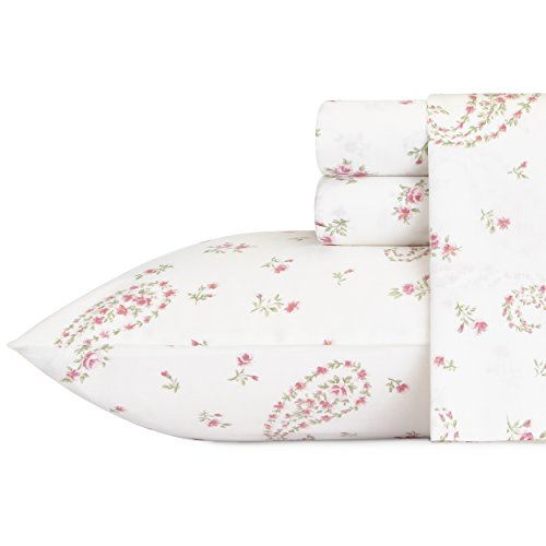 (Laura Ashley 220484 Bristol Paisley Cotton Sheet Set, Queen, Pink)