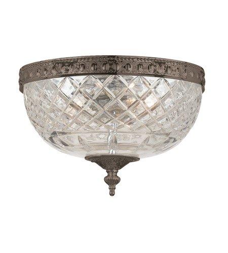 Flush Mounts 2 Light with English Bronze Lead Crystal Cast Brass 8 inch 120 Watts - World of - Cortland Cast Light Two