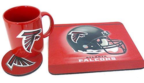 Coffee Mug Mouse Pad (Atlanta Falcons work station, computer set. Includes coffee mug, Mouse pad, coaster, 3 pieces set.)
