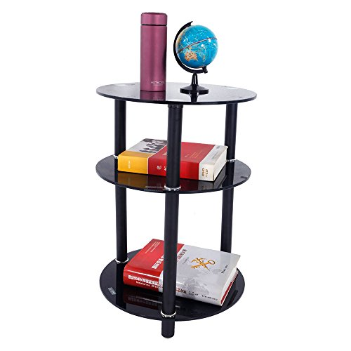 FCH Glassy Stand Side Table 3-Tier Free Standing Round End Table Home Office Pedestal Tables,Black