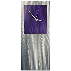 Metal Art Studio Purple Studio Clock Original Metal Wall Decor, Purple Color Face
