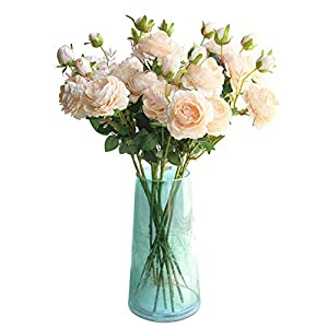 "Lemax 24"" Long Artificial Peony Silk Peony Bouquets Fake Flowers Wedding Home Decoration,Pack of 3 6"