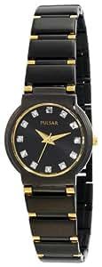 Pulsar Women's Crystal Black Ion Gold-Tone Watch