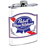 Pabst Blue Ribbon Classic Logo 8OZ Stainless Steel Flask D-187