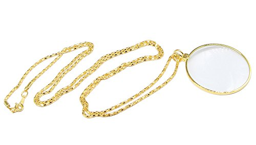 Monocle Glass - QiCheng&LYS 1-3/4 Inch Optical Magnifier Lens and 36-Inch Gold Chain for Library, Reading Fine Print, Zooming, Increase Vision