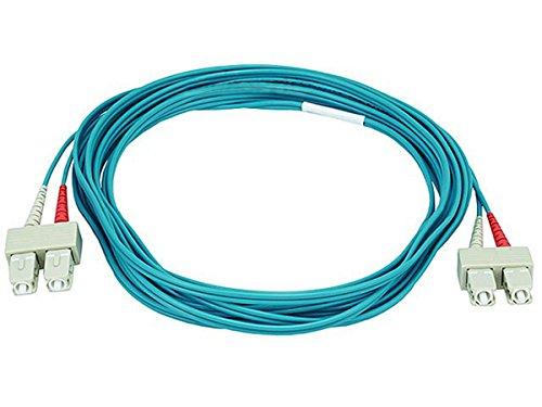 Monoprice 10Gb Fiber Optic Cable, SC/SC, Multi Mode, Duplex - 5 Meter (50/125 Type) - Aqua by Monoprice