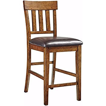 ashley signature bar stools furniture larchmont north shore design upholstered rake back set medium brown