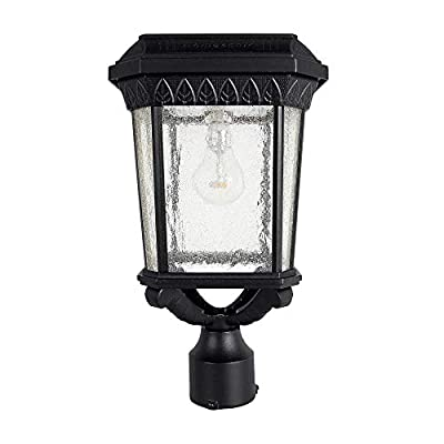 GAMA SONIC Colonial Solar Post Light, Outdoor Solar Powered LED Light, Post Mount, Black (GS-18F)