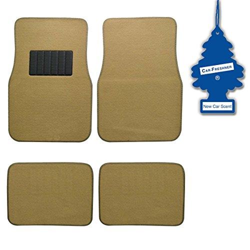 bdk-light-beige-4-pc-universal-carpet-car-mats-w-heel-pad-little-tree-new-car
