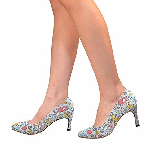 Interestprint Mujeres Classic Fashion High Heel Dress Pump Patrón Divertido Con Útiles Escolares Y EleHombrestos Creativos, Back To School Background
