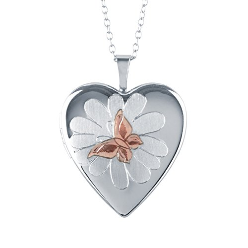 Butterfly & Flower Heart Shape Sterling Silver Locket Pendant with Chain by Silver on the Rocks