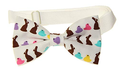 Men's Bunnies/Peeps Pre-Tied Cotton Bow Tie Adjustable Twill Strap Easter Bowtie