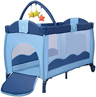 Accesorios Bolas Plegable COSTWAY Cuna de Viaje Dos Capas Baby Playpen Beb/é Cama con Colch/ón Azul