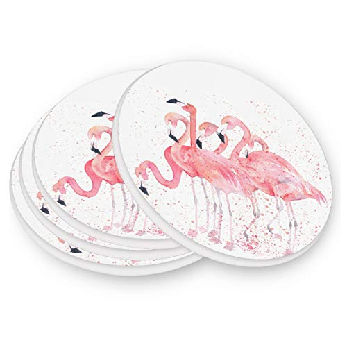 (visesunny Pink Flamingo Pattern Drink Coaster Moisture Absorbing Stone Coasters Set 1 with Cork Base for Tabletop Protection Prevent Furniture Damage Coffee Mug Glass Cup Place Mats)