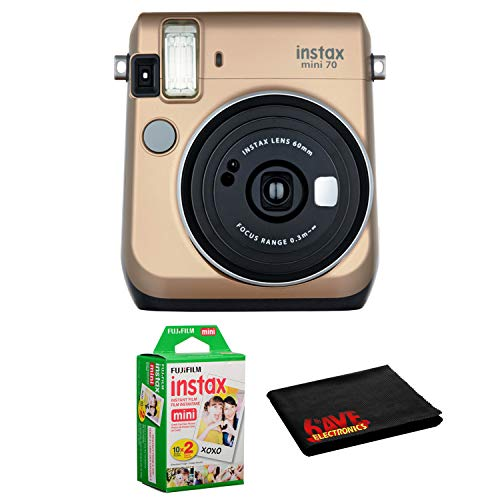FUJIFILM INSTAX Mini 70 Instant Film Camera Gold – Kit with Instant Film Twin Pack