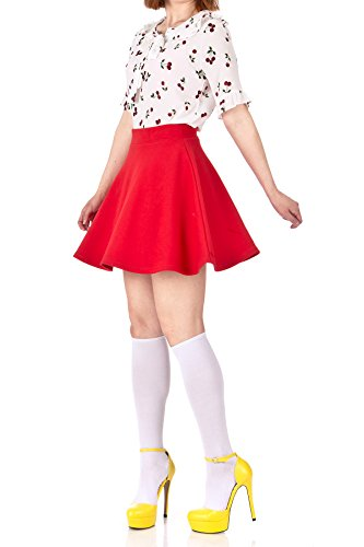 Basic Solid Stretchy Cotton High Waist A-line Flared Skater Mini Skirt (L, Red)
