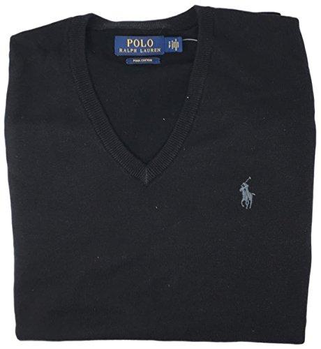 Polo Ralph Lauren Mens Pima Cotton V-Neck Sweater (Blackgrypny , XXL)