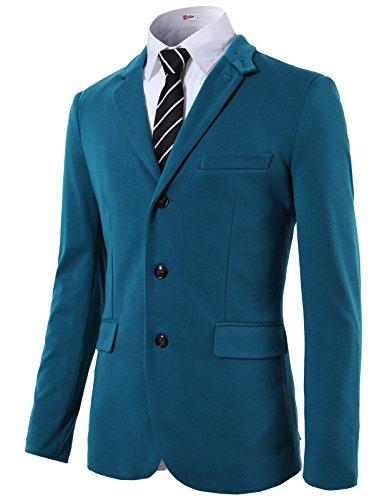 Peaked Lapel Jacket (H2H Men's Stylish Peaked Lapel Blazer Jacket Navy US XL/Asia XXL (KMOJA0292))