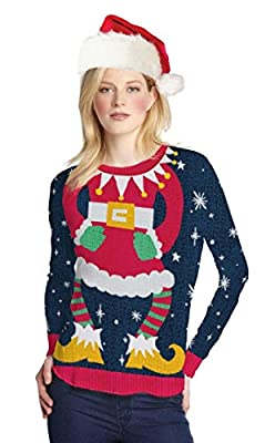 Faux Real Women's Miss Claus Ugly Sweater Long Sleeve T-Shirt