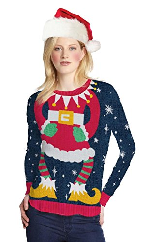 Faux Real Women's Miss Claus Ugly Sweater Long Sleeve T-Shirt - Small