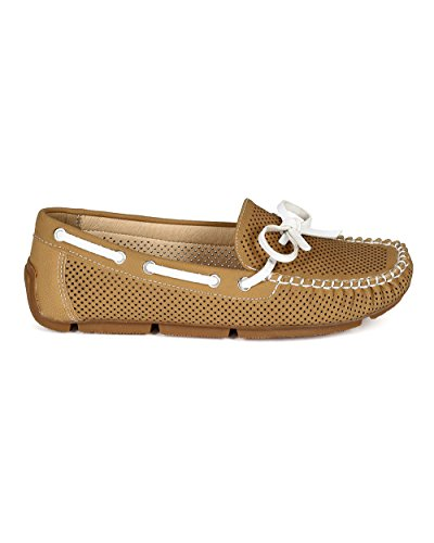 Nature Breeze CA49 Women Leatherette Perforated Round Toe Boat Loafer - Camel Leatherette 6fObdr