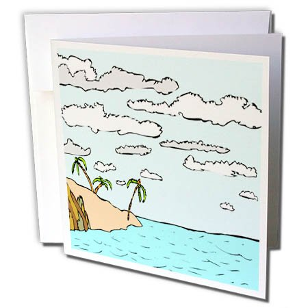 3dRose TDSwhite – Summer Beach Theme - Tropical Island Scene Ocean - 12 Greeting Cards with Envelopes (gc_285731_2)