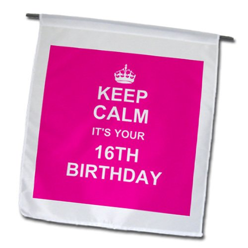 InspirationzStore Occasions – Keep Calm its your 16th Birthday – hot pink girly girls fun stay calm about turning sweet sixteen – 18 x 27 inch Garden Flag (fl_157649_2) For Sale