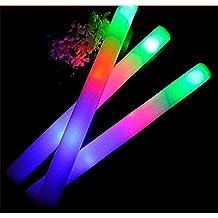 "Taotuo 30 PCS 19"" LED Light-Up Foam Sticks Rally Rave Cheer Tube Soft Glow Baton Wands"