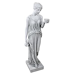 Design Toscano Hebe the Goddess of Youth Greek Garden Statue, Large 81 cm, Polyresin, Antique Stone