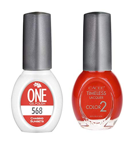 568 Rose - Premium Nail Polish & Gel Polish Color Polish Set, Long Lasting Formula, 0.5 oz Each By Cacee (ONE Gel & Timeless), 178 Choices of Color, Set of 2, UV/LED Compatible (#568 Chasing Sunsets)