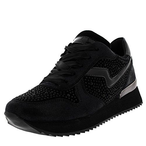 best service cb9b4 56195 Femmes Pompes Léger Festival Confortable Mode Diamante Sneakers Noir   Noir.  chaussures ...