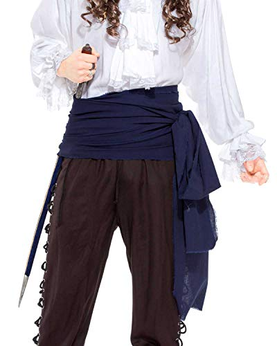 Halloween Pirate Medieval Renaissance Linen Large Sash [Navy]