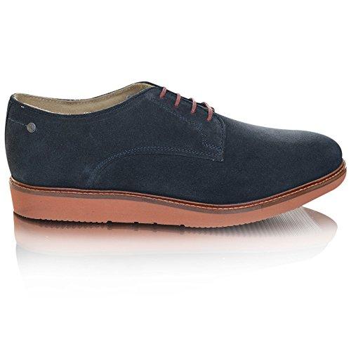 Base London GARRICK QH02123 hombre derby zapatos de gamuza suave Azul