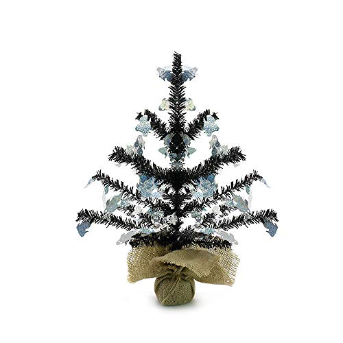 YuQi 14 ''Artificial Table Top Trees Tinsel Mini with Burlap Base, Halloween Home Decor for Table and Desk Tops, Christmas Tinsel Trees, Perfect for Your Home,Wedding,Party Decorations (Ghost) ()