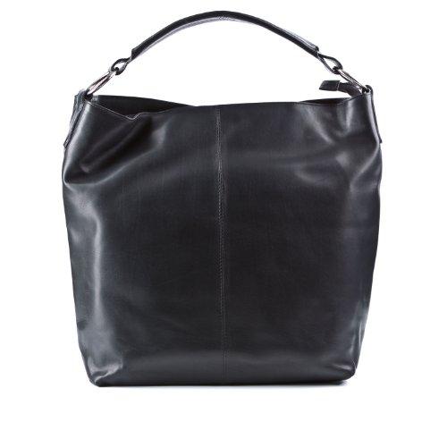 BACCINI bolso de hombro ELISA - piel genuina negro - cartera - grande - bolso de asas (38 x 40 x 7 cm)