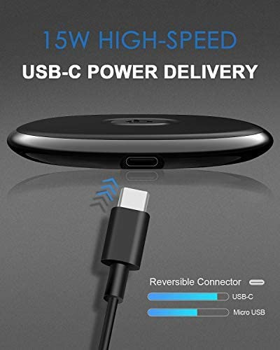 Compatible with iPhone SE//11//11 Pro//11 Pro Max//XS Max//XR//XS//X//8 Plus,Samsung S20//S10//S9//S8//Note10+//9//8 /& Airpods Pro NANAMI Fast Wireless Charger,Qi-Certified 15W Max Wireless Charging Pad Ultra Slim