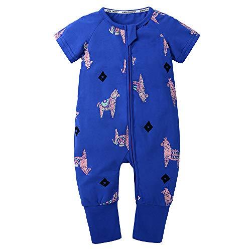 (Kids Tales Baby Boys Girls Zipper Short Sleeve Pajama Sleeper Cotton Romper(Size 3M-3T) Blue)