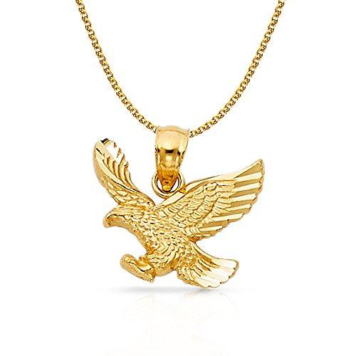 14K Yellow Gold Eagle Charm Pendant with 1.5mm Flat Open Wheat Chain Necklace - 22