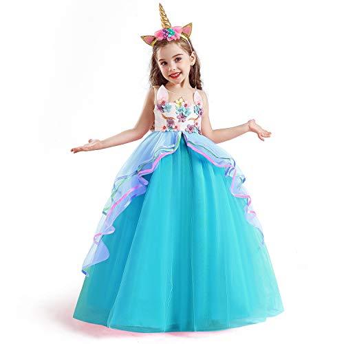 Ttyaovo Eenhoornjurk voor meisjes, fantasiejurk, prinsessenjurk, voor kinderen, feestkleed zonder mouwen, jurk met…