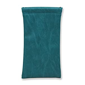 Sunglass Pouch & Eyeglass Pouch, Squeeze Top XL Eyeglass Case with Cleaning Cloth, Medium To Oversized Frames Glasses Case, Smart Phone Case (Teal)