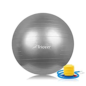 Trideer Exercise Ball (Multiple Sizes), Yoga Ball, Birthing Ball with Quick Pump, Anti-Burst & Extra Thick, Heavy Duty Ball Chair, Stability Ball Supports 2200lbs (Office&Home) (Bright Silver, 55cm)