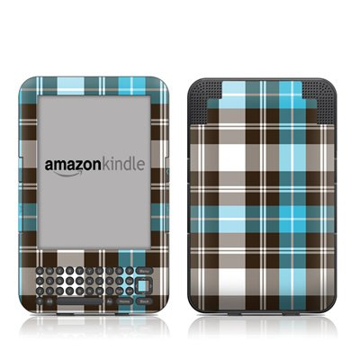 Turquoise Plaid Design Protective Decal Skin Sticker for Amazon Kindle Keyboard / Keyboard 3G (3rd Gen) E-Book Reader - High Gloss Coating (Faceplates Turquoise)