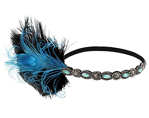 (Crystalla 1920s Headband Feather/ 20's Bridal Headwear/Great Gatsby Flapper Headpiece Gangster)