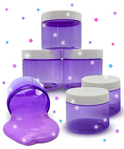 Original Stationery Slime Containers with Lids 6 Ounce [Perfect Slime CONTAINERS No BPAs Safe for Kids] Small Plastic Storage Jars Screw Top, [for Any Slime Maker] (Clear Purple)