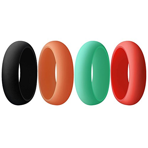 Aven womens Silicone Wedding Ring - 4 Rings Pack - 5.5mm Wide(2mm Thick)-Black, Coral, Red, Turquoise(5)