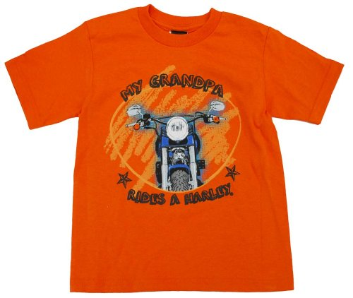 Harley-Davidson Little Boys' Grandpa Rides A Harley T-Shirt Orange 0474224 (4T)